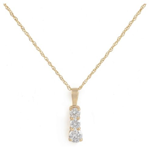 14ct Gold Plated Silver Cubic Zirconia 3-Stone Pendant, 46cm