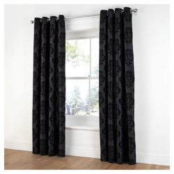 Tesco Flock Damask Lined Curtains W163xL183cm (64x72
