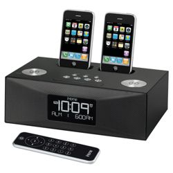 iHome iP88BRE Dual Dock 3-Alarm Clock Radio for iPhone/iPod