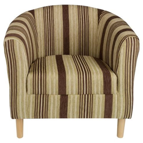 Tub Fabric Chair, Stripe Chocolate