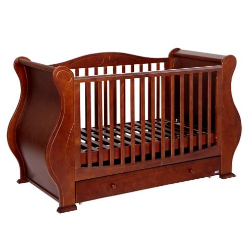 Tutti Bambini Louis Fix Side Sleigh Marie Cot Bed, Walnut