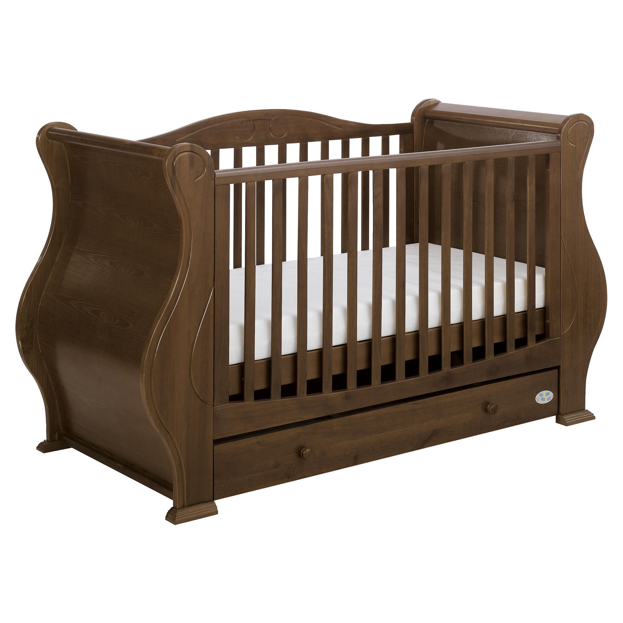 Tutti Bambini Louis Fix Side Sleigh Marie Cot Bed, Walnut at Tesco Direct