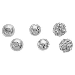 Pave Silver Tone Stud Earrings 3 Pack