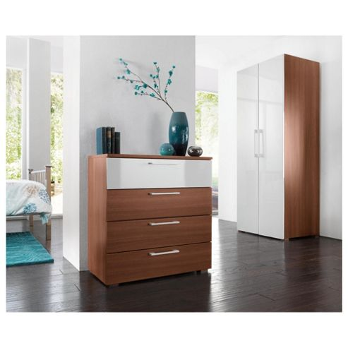 Como 4 Drawer Chest, Walnut Effect/ White Gloss