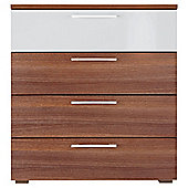 Como 4 Drawer Chest, Walnut-Effect & White Gloss