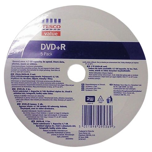 Tesco Value DVD+R - pack of 5