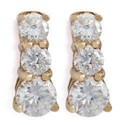14ct Gold Plated Silver Cubic Zirconia 3-Stone Earrings