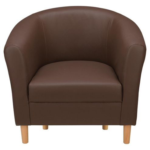 Tub Chair Leather Effect Chocolate