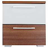 Como Bedside Chest, Walnut-Effect & White Gloss