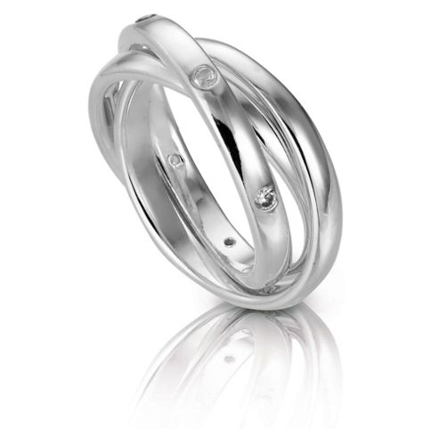 Sterling Silver Cubic Ziconia Russian Ring, Small