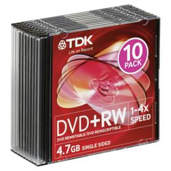TDK DVD+RW 4X 10-PACK JEWEL CASE