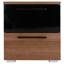 Como Bedside Chest, Walnut-Effect & Black Gloss