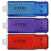 TDK 3 pack Hi Speed USB flash drives - 4GB each