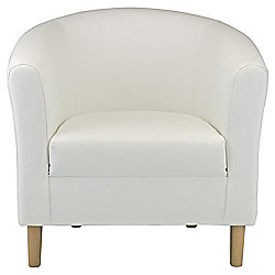 Tub Chair Leather Effect White
