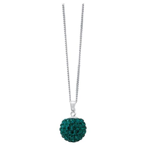 Silver Green Crystal Set Pendant