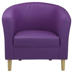 Tub Chair Leather Effect Purple
