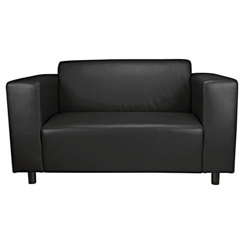 Stanza Leather Effect Small Sofa, Black