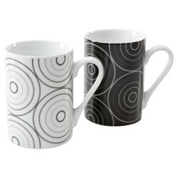 Tesco Raindrop Set of 8 Mugs, Black and White.