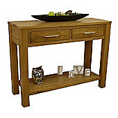 Oakland Chunky Oak Console Table / Oak 2 Drawer Hallway Table