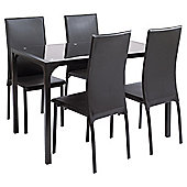 Yen Table & 4 Chair Set, Black