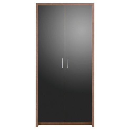 Manhattan 2 Door Wardrobe, Walnut Effect/Black Gloss