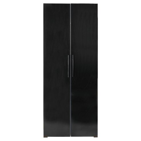 Como 2 Door Wardrobe, Walnut Effect/Black Gloss