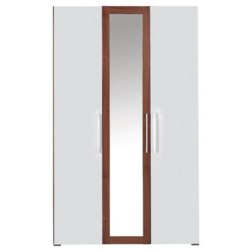 Como Triple Wardrobe, Walnut-Effect & White Gloss