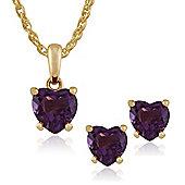 Gemondo 9ct Yellow Gold 4 Claw Set Amethyst Heart Stud Earring & 45cm Necklace Set