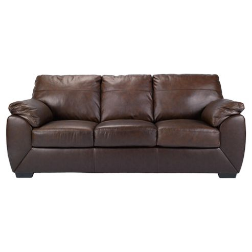 Alberta Leather Large 3 Seater Sofa, Chocolate