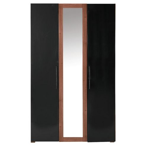 Como Triple Wardrobe, Walnut-Effect & Black Gloss