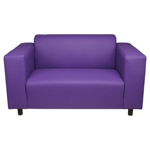 Stanza Leather Effect Small Sofa, Purple