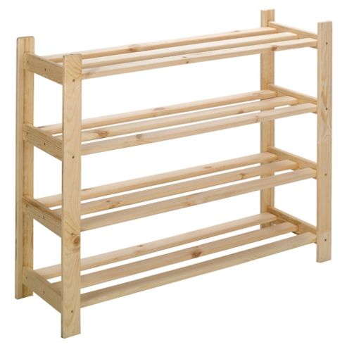 Tesco Solid Pine 4 Shelf Shoe Rack