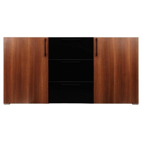 Como 3 Drawer 2 Door Sideboard, Walnut & Black