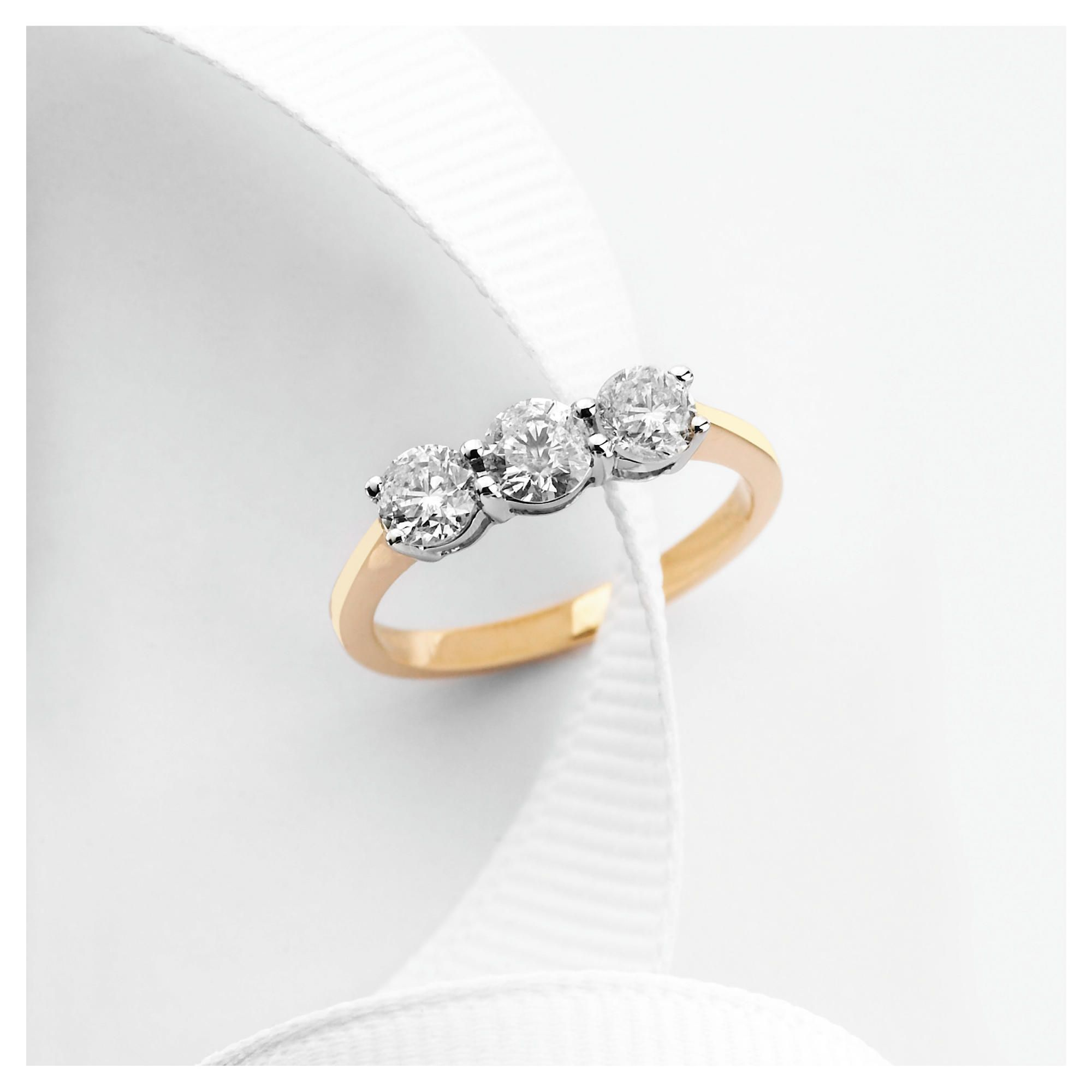 9ct gold 1ct diamond three stone ring, H at Tesco Direct