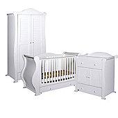 Tutti Bambini Marie 3 Piece Sleigh Room Set, White