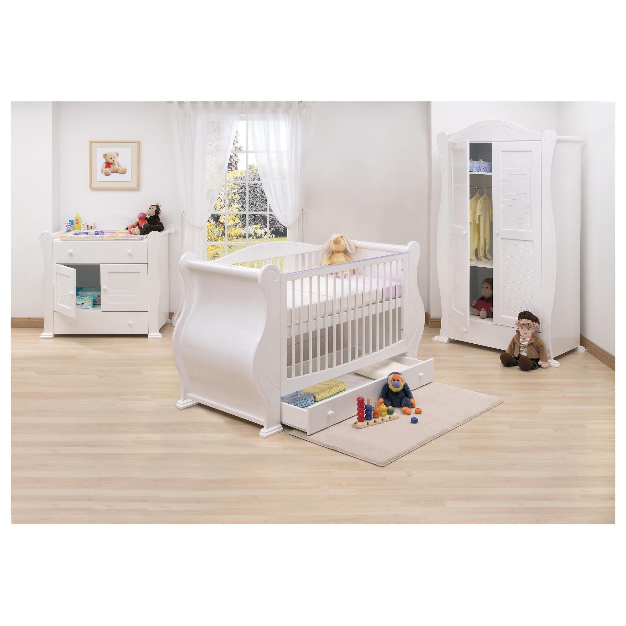 Tutti Bambini Marie 3 Piece Sleigh Room Set, White with Free Sprung Mattress at Tesco Direct