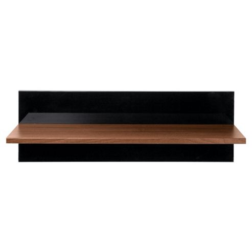 Como Floating Single Shelf, Walnut & Black