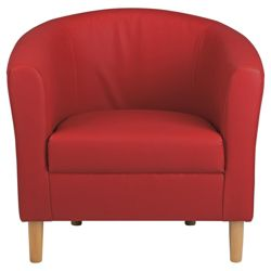 Tub Chair Leather Effect Red