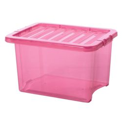Wham Crystal 24L Underbed storage box with lid, pink
