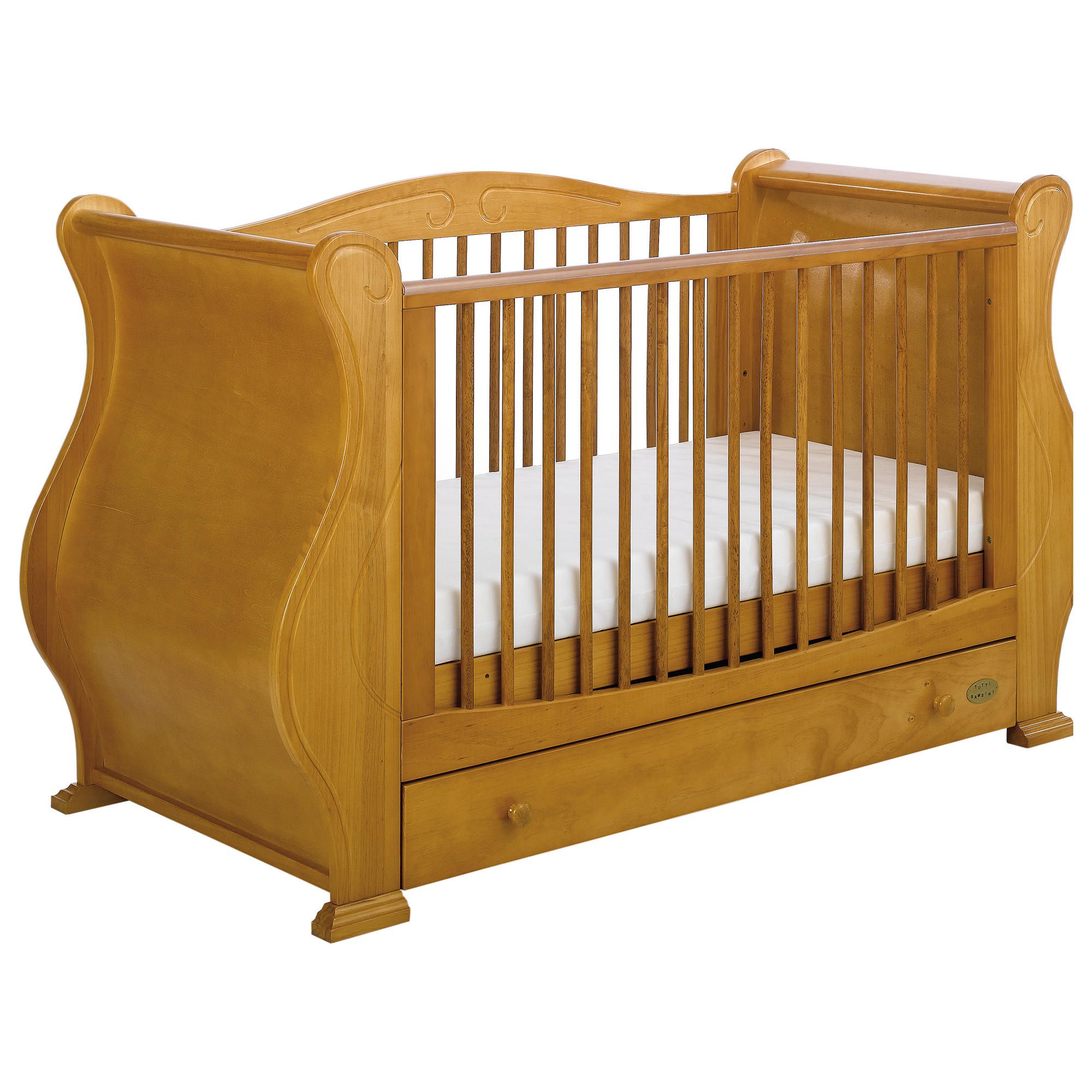 Tutti Bambini Louis Fix Side Sleigh Marie Cot Bed, Natural at Tesco Direct