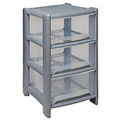 Wham 3 drawer tower, clear & silver
