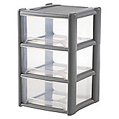 Wham 3 Drawer Storage Tower, Grey