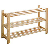 Solid Pine 3 Tier Shoe Rack