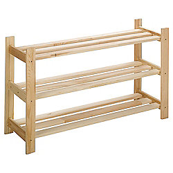 Tesco Solid Pine 3 Shelf Shoe Rack