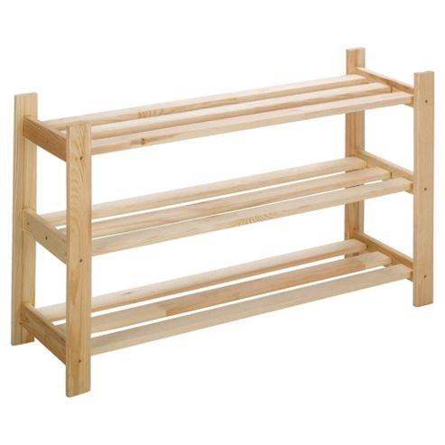 3 Shelf Shoe Rack Solid Pine