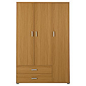 Fresno 3 Door Wardrobe, Oak Effect