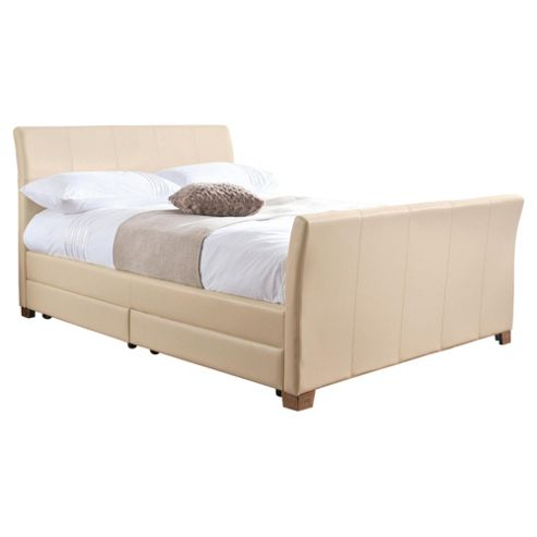 Rayne King Faux Leather Bed Frame with 4 Drawers, Cream