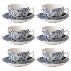 Johnson Bros Set of 6 Devon Cottage Teacups and Saucers