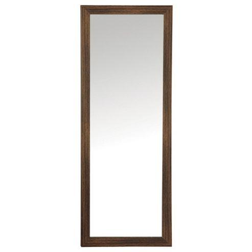 Basic Mirror - Dark Wood Effect 97x37cm
