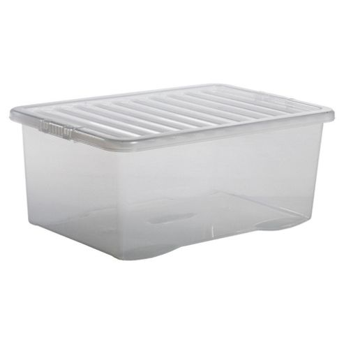 buy plastic storage box with lid 45l clear from our. Black Bedroom Furniture Sets. Home Design Ideas